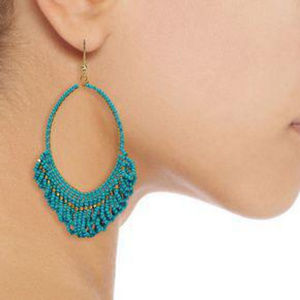 Gold-tone beaded earrings Turquoise by KENNETH JAY
